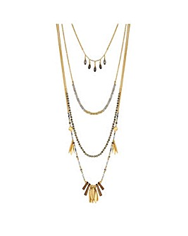 Mood gold charm multi row necklace