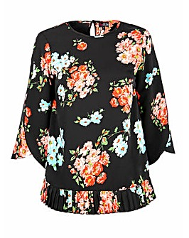 Lovedrobe GB Floral Open Sleeve Blouse