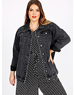 Koko Grey Denim Studded Jacket