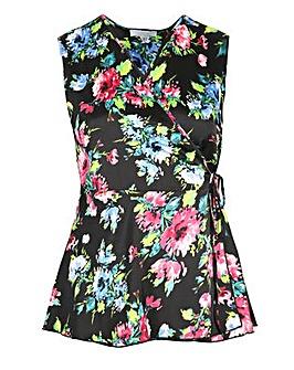Lovedrobe GB Black Floral Wrap Top