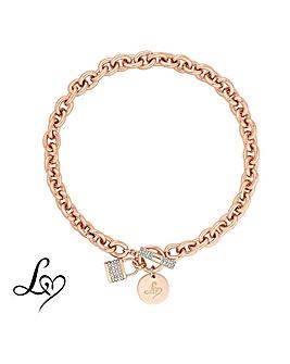 Lipsy Crystal Padlock Chain Necklace