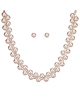 Mood Rose Gold Ball Twist Jewellery Set