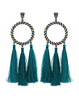Mood Multi Colour Hoop Tassel Earring