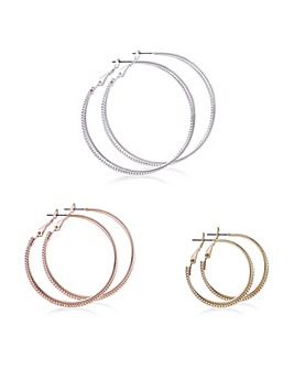 Mood Multi Tone Hoop Earring Set