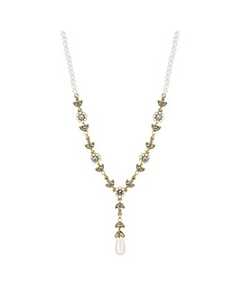 Alan Hannah Floral Pearl Y Necklace