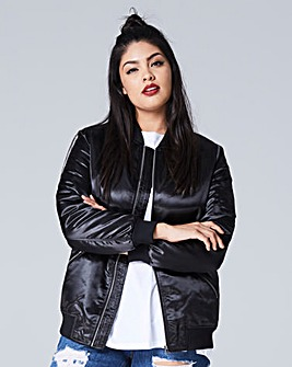 Shiny Black Padded Bomber Jacket