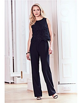 Joanna Hope Lace Trim Jumpsuit