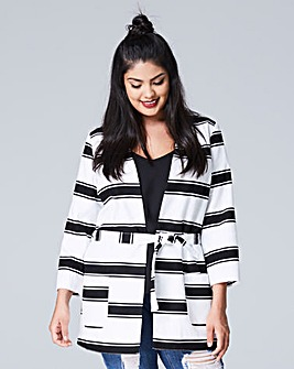 Stripe Tie Belt Jacket