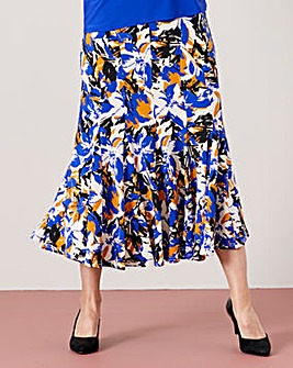 Printed Jersey Skirt with Godets L27in