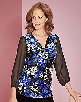 Print Velour Tunic with Diamante Trim