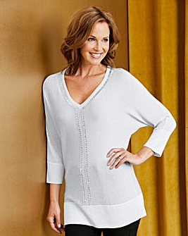 Batwing Jumper with Diamante Trim Detail