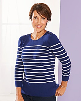 Cotton Stripe Jumper with Button Detail