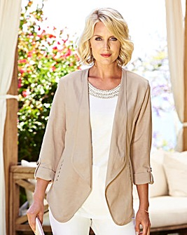 Linen Mix Waterfall Jacket