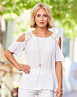 Cold Shoulder Crinkle Blouse