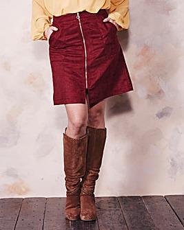 Suedette Zip Front Mini Skirt