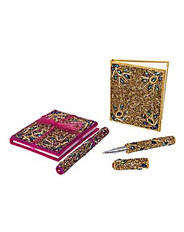 Beaded Pen and Notepad Set of 2