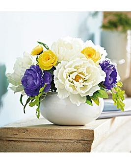 Peony Bouquet in Ceramic Vase