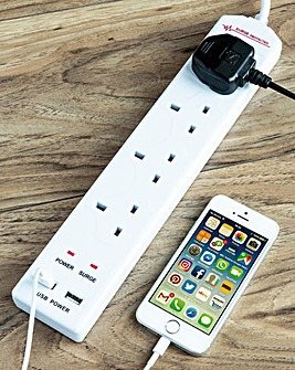 4 Way Extension Lead with 2 USB Ports