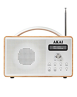 Akai Wood Portable DAB Radio