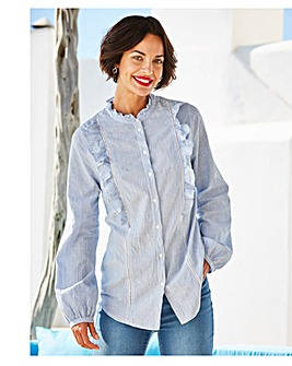 Blue/White Ladder Trim Frill Shirt