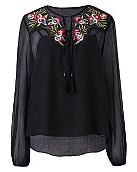 Black Embroidered Yoke Crinkle Blouse