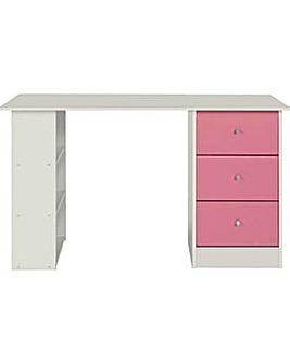 Kids Malibu 3 Drawer Desk Pink on White