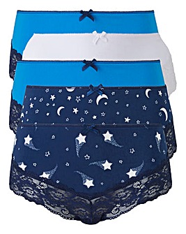5 Pack Star Print Midi Briefs