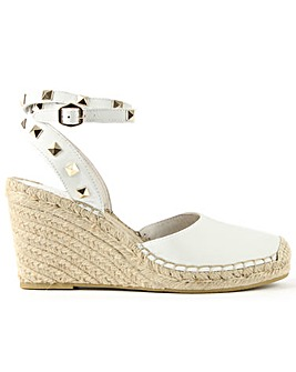 Ash Leather Studded Wedge Espadrille