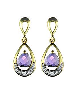 9ct Amethyst & Dia Earrings
