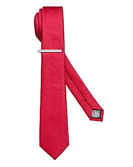 Burton London Red Textured Tie Clip