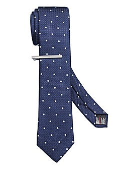 Burton London Navy Spot Tie Clip