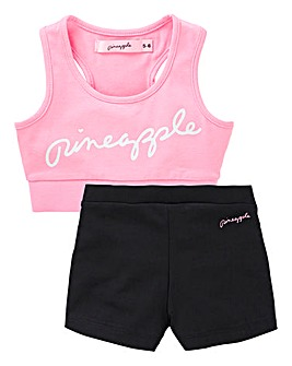 Pineapple Crop Top and Shorts Set
