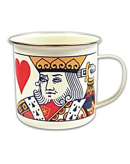 Playing Cards King of Hearts Enamel Mug