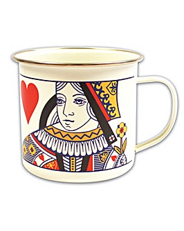 Playing Cards Queen of Hearts Enamel Mug