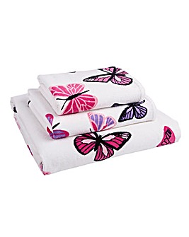 Printed Butterflies Bath Towel