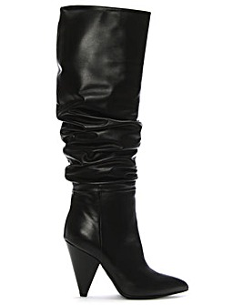 Daniel Verena Leather Rouched Knee Boots