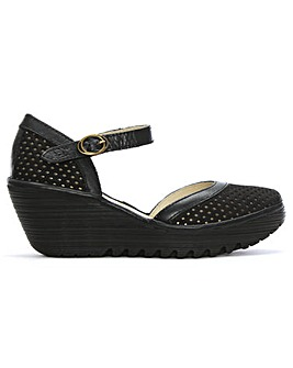 Fly London Perforated Wedge Mary Janes