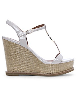 Emporio Armani Raffia Wedge Sandals
