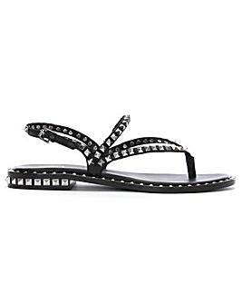 Ash Leather Studded Toe Post Sandals