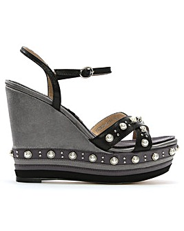 Daniel Pentra Embellished Wedge Sandals