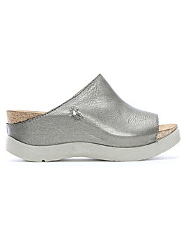 Fly London Wigg Leather Wedge Mules