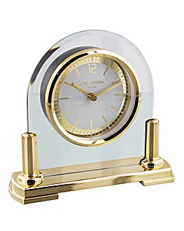 Glass Mantel Clock With Gold Stand