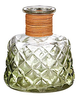 Jade Cut Glass & Jute Decanter