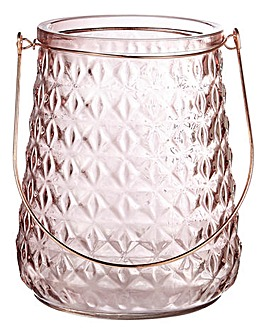 Cannes Rose Glass & Copper Metal Lantern