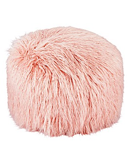 Blush Faux Fur Pouffe
