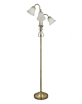 Antique Brass 3 Shade Floor Lamp