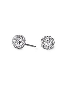 Simply Silver small pave ball earring