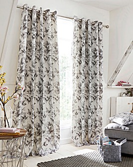 Stella Floral Lined Eyelet Curtains