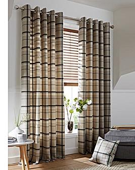 Hudson Check Lined Eyelet Curtains