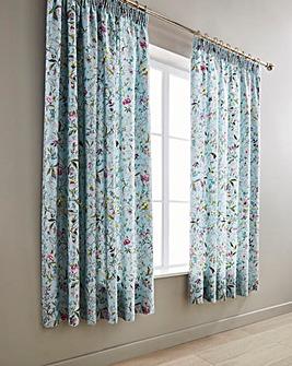 V&A Botanica Aqua Pleated Curtains